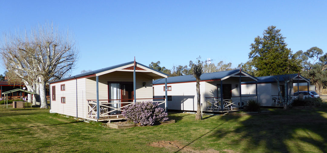self-contained cabin accommodation at Darlington Point Sports Club