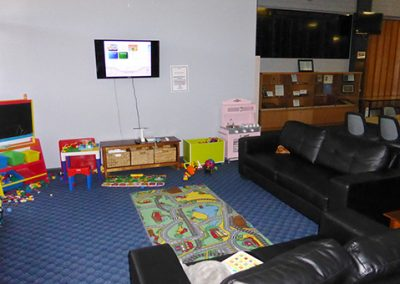 The Darlington Point Club has a lounge area with toys to keep the kids entertained
